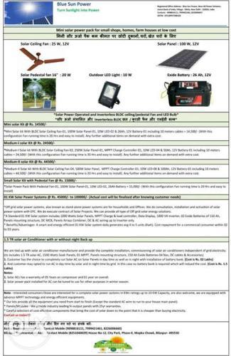 Solar Power packs for All from Mini Packs to KWs