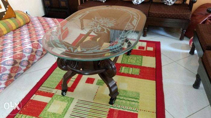 Solid Teak Wood Center Table With Glass Top For Sale In Bangalore
