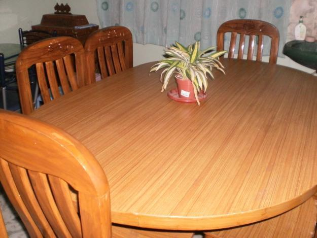 Teak Wood Dining Table With 6 Chairs For Sale