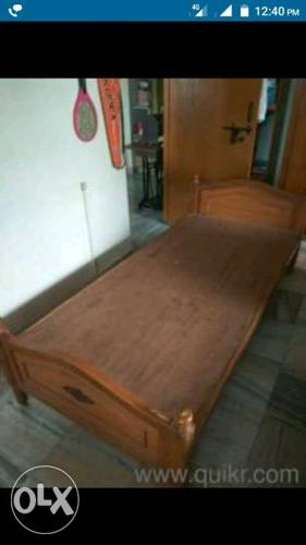 Teak Wood Single Cot Bed With Matress Good For Sale In