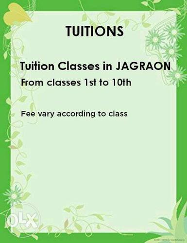 Tuition classes in JAGRAON. from class 1st to