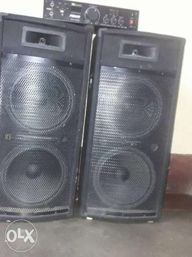 Two Black 3-way Speakers