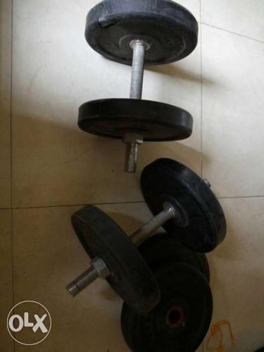 Two Black Dumbbells And Plates
