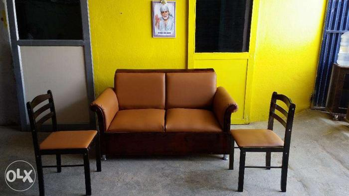 Two seater wooden sofa with wooden one plus one wooden