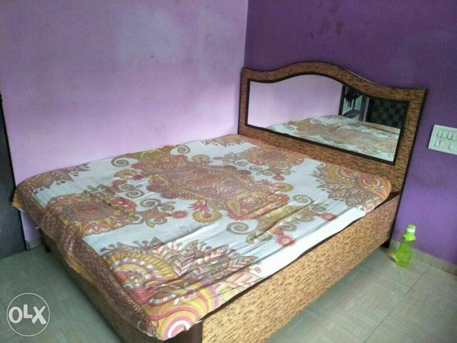 White And Beige Floral Bed Mattress And Headboard