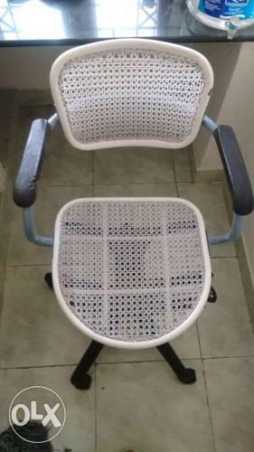 White And Gray Mesh Rolling Armchair