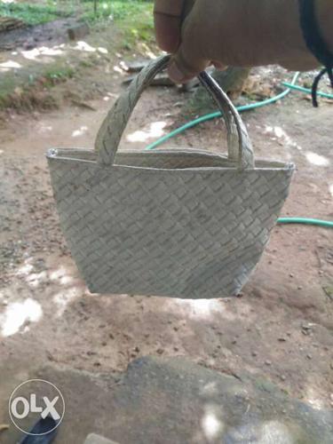 White Hand Woven Handbag