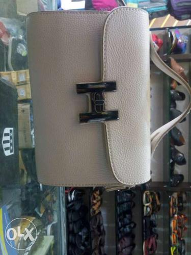 White Leather Hand Bag