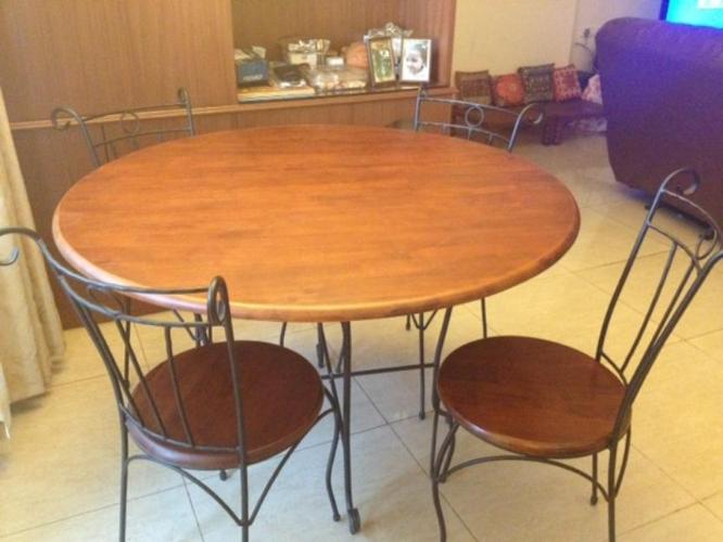 Wrought iron 4 seater dining table wooden top chairs for sale for sale in bangalore Home furnitures bengaluru karnataka