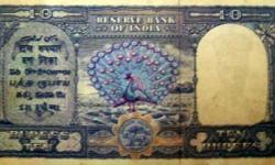 10 rs. note with 1 peacock sign by c.d. deshmukh
