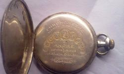 (15 Rubis)Pocket watch ANCRE Levees Visibles Double Plateau Spiral Breguet 15 Rubis