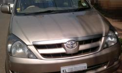 Make: Toyota Model: Innova Mileage: 148,000 Kms Year: 2005 Type of car: Sport Utility Vehicle (SUV) Condition: Used INNOVA G2 a/c power steering power windows CD player defogger rear spoiler fog lamps ACCIDENT FREE vehicle original kerala Add 2% as