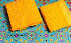 embroidered cotton silk kurta with cotton silk bandhani salwaar and dupatta price 1300 INR
