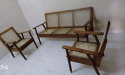 7 years old wooden with wire sofa set 3+1+1 in good condition except slight repair on wires