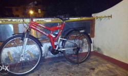 Hero f1 series x-sport cycle,2 years old ,18 geared,shimano brand good quality gears,shocks in between and infront,little bit rusted,tyres are working,brakes not working,gear chords need to be serviced,cycle brought for Rs6,000,gears and brakes can be