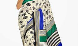 Cloth/Shoes/Accessories: Women Type: Sarees Product Code: HLM106128BRM Fabdeal casual wear White & Blue Colored Jute Silk Saree With Unstiched Blouse Look flawless this season by draping this marvelous attire that carries amazing jute silk fabric in its