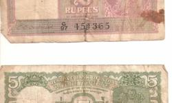 I want to sell:- 1.- Rs. 5 note - signed Jagannathan - 4 deer 2.- Rs. 2 note - signed C. D. Deshmukh - G VI 3.- Rs. 5 Big Coin - Indira Gandhi Interested persons may please contact me at 08127367135 or E Mail at sandagra@rediffmail.com