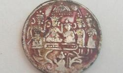 Original one peice Ram Darbar Coin if you searched in google you can't find like this ram darbar coin its 400 A.D 1700 years. And there is one person holding fan Laxman, Bharat or whom i don't know it is so rare coin if you search in google you can't find