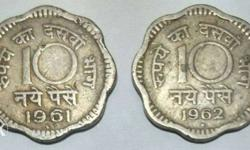 Rare Old 10 Paise Coins of 1961 & 1962