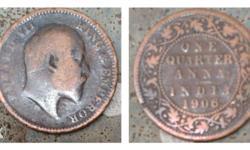 116 years old one quarter anna indian coins