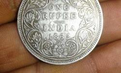 1862 Round Silver 1 Rupee India Coin