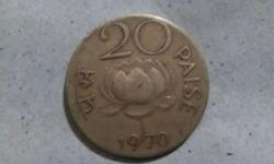 1970 Round Gray 20 Paise Coin