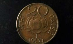 1971 Round Gold 20 Paise Coin good condition...