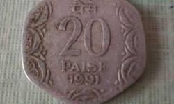 1991 20 Indian Paise Coin