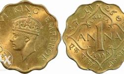 1 anna british india coin at reasonable rate. contact