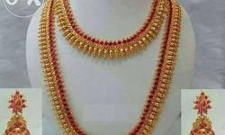 1gm gold haram sets with red stone