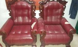 2 Brown Wooden With Red Leather Padded Armchairs