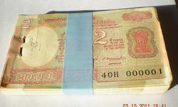 1. This a unused 2 rupees bundle & Serial No. start