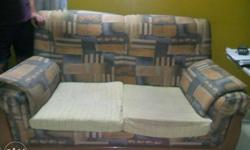 2 seated large fabric sofa with soft foam; size 5' x