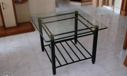 3 glass top tables powder coated metal base 2ft by 2ft