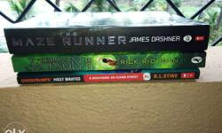 3 Novels for sale price Rs:250 Percy Jackson Rs:150