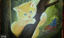 Cute kitten painting for kids room, school. Office
