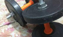 Two Black-and-orange Dumbbells