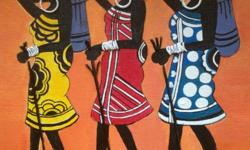 Beautiful handmade african painting made of M.seal n