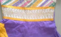 New anarkali stitched suit with lavender and yellow