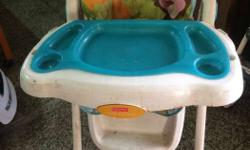 Baby's White, Teal, Green, And Orange Feeding Chair