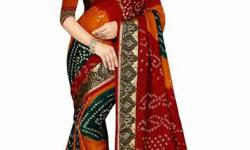 bandhni sari new with roll presed discount sale
