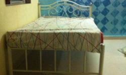 Beautiful Ivory White Metal Bed with mattress (will