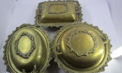 Antique attractive 3 buffet hot pots in 3 shapes weight