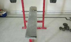 Bench press set, with a rod and 15 kg weight