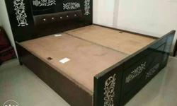 Black And Brown Wooden Bed with almira Frame