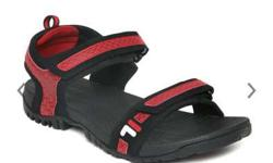 Black And Red Fila Sandals
