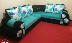 Black And Teal Sectional Padded Sofa With Throw Pillow