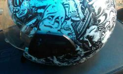 Black And White Printed Open-face Helmet