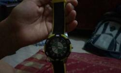 Black And Yellow Analog Watch