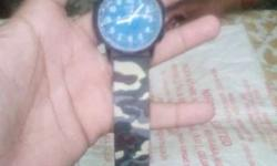 Black, Brown And Green Camouflage Analog Watch